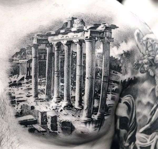 Interesting Black Tattoo Of Greek Architecture Tattoo Mens Torso