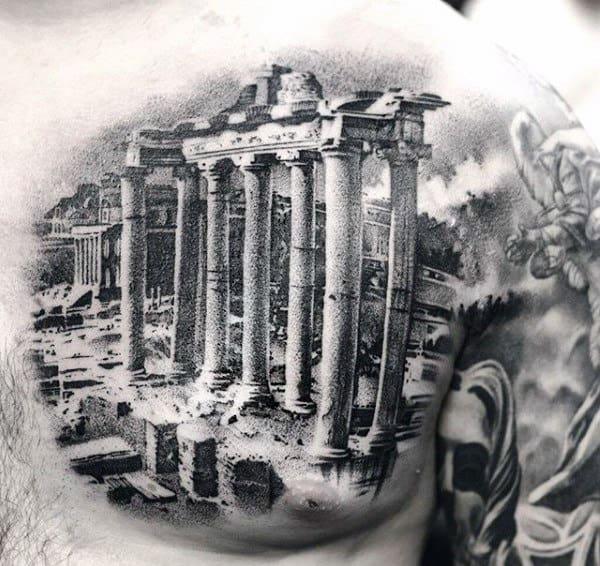 Interesting Black Tattoo Of Greek Architecture Tattoo Mens Torso