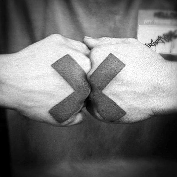 Interesting Cross Tattoo Mens Hands Tattoo