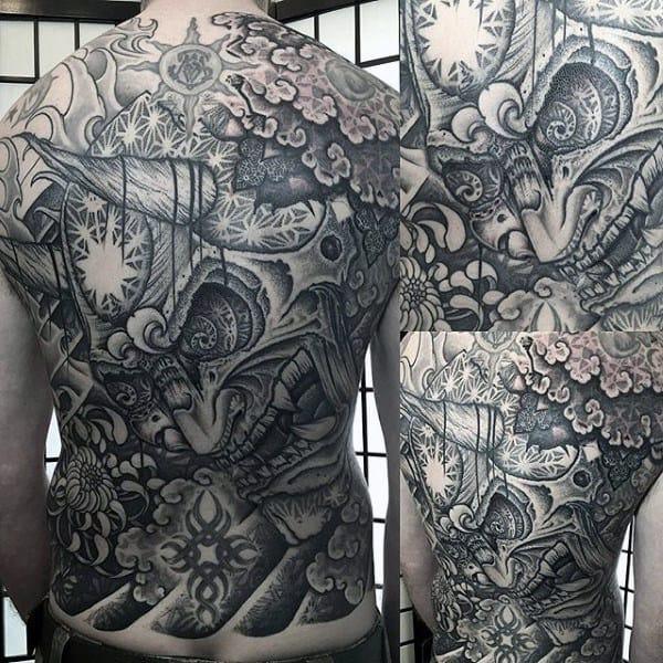 Interesting Detail Grey Tattoo Male Full Back