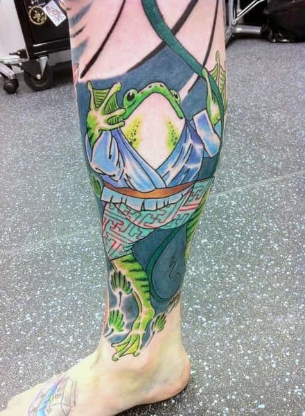 Interesting Frog Leg Sleeve Tatto On Male