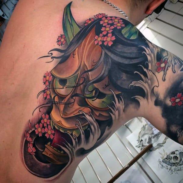 Interesting Oriental Evil Face Tattoo Male Back