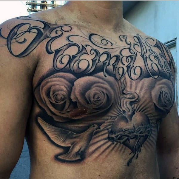 Interesting Tattoo Of Heart Peace Dove And Roses Male Chest