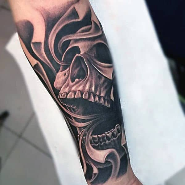 Interesting Tattoo Of Smoke From Skulls Mouth Tattoo Male Forearms