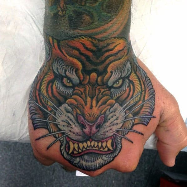 Interesting Tiger Tattoo Male Hands