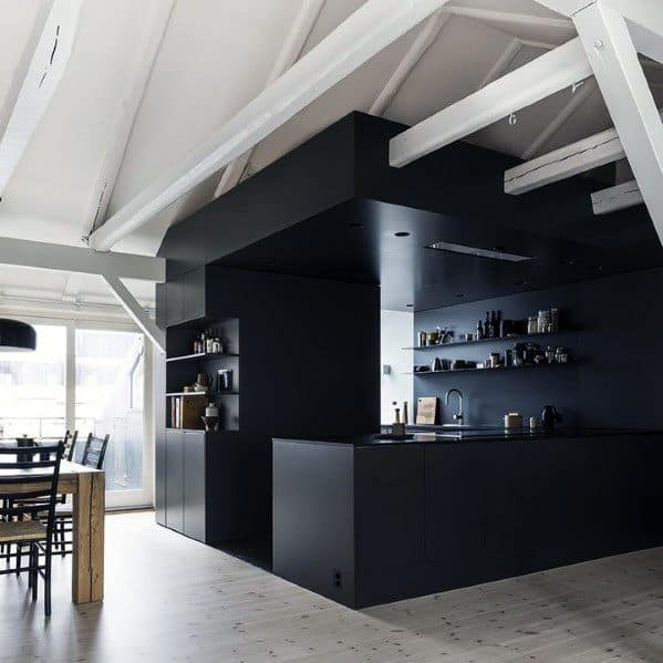 Interior Black Kitchen Cabinet Design