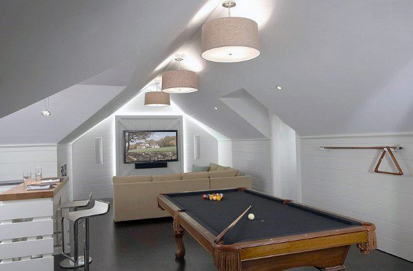 Interior Bonus Room Design With Pool Table
