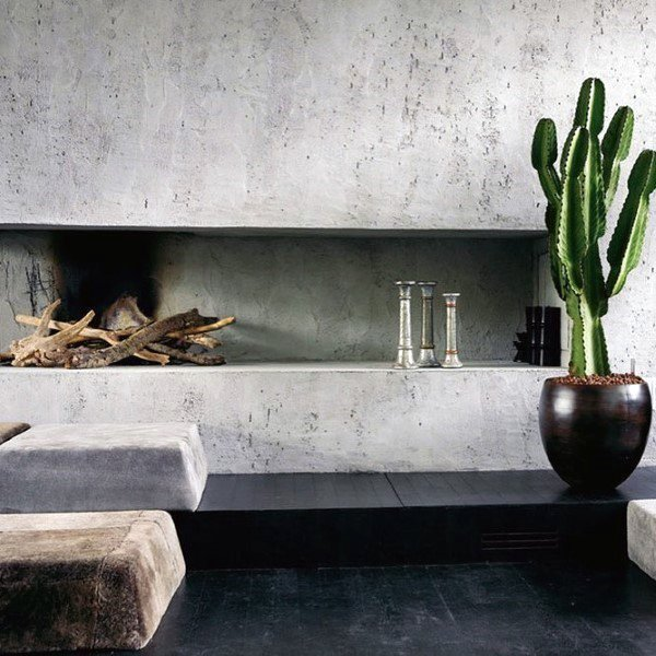 Interior Concrete Fireplace Design Ideas