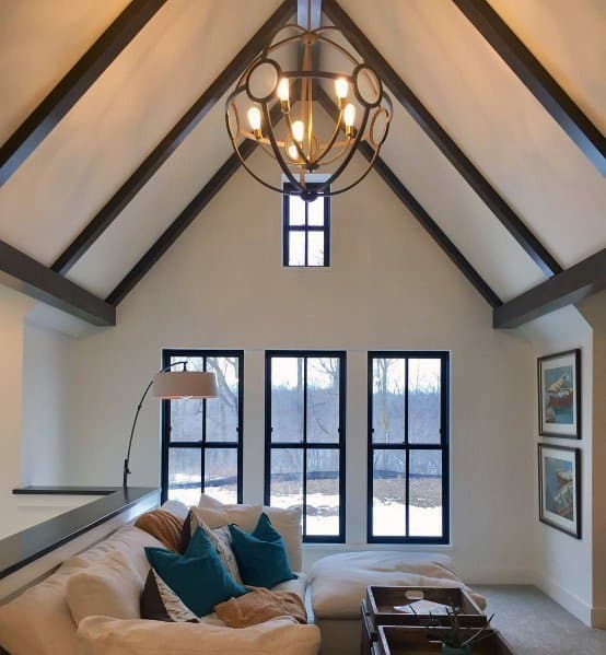 Interior Designs Bonus Room Lounge With Vaulted Ceiling