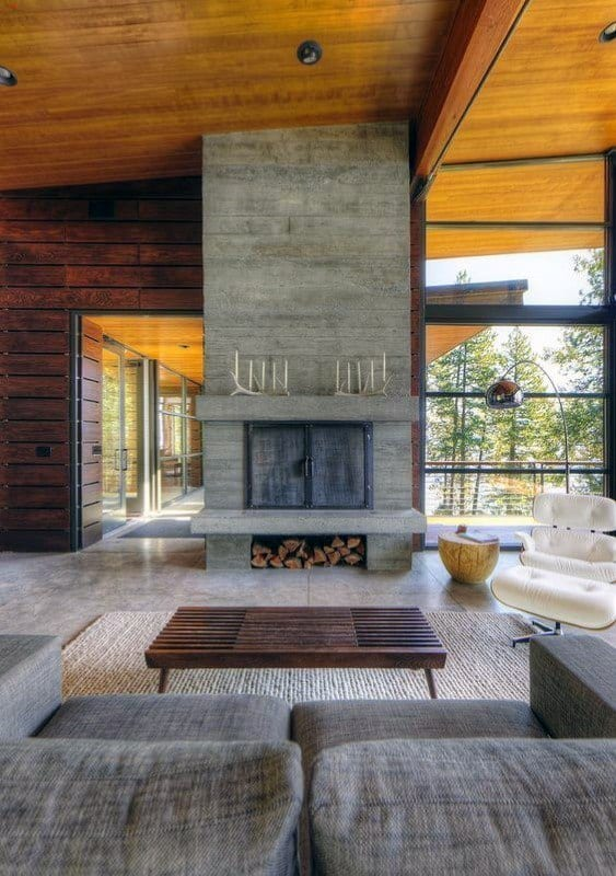 Interior Designs Concrete Fireplaces