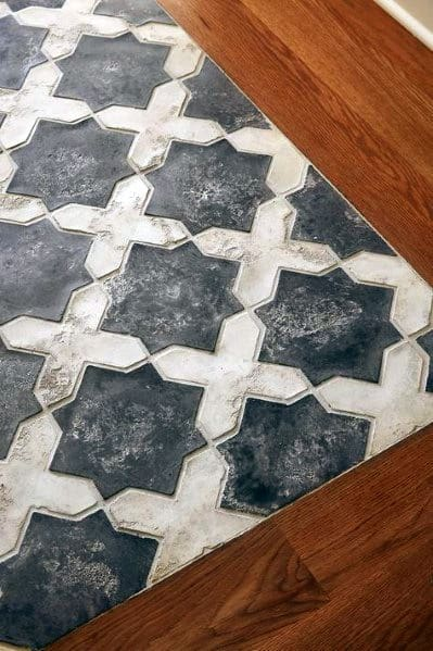 Interior Designs Entryway Tile Cross Pattern With Hardwood Trim
