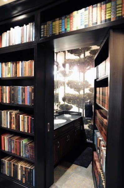 Interior Designs Hidden Doors Black Bookcase Bathroom