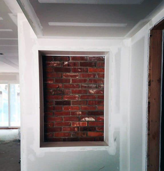 Interior Designs Recessed Wall Niche With Brick Wall Finish