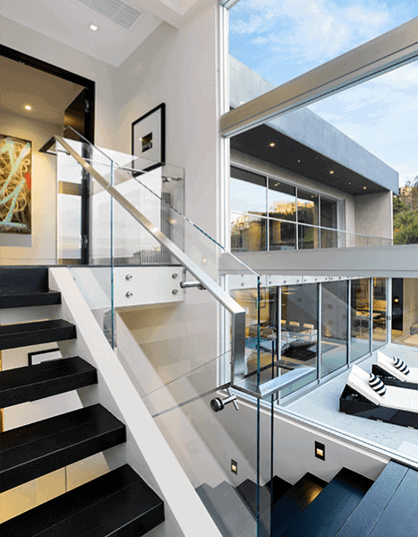 Interior Designs Stair Railing Modern Glass Panels