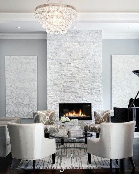Interior Designs White Stacked Stone Fireplace