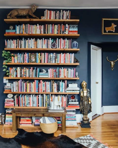 Interior Ideas For Floor To Ceiling Wood Bookshelves