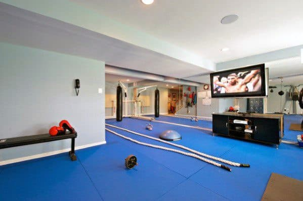 Interior Ideas For Home Gym Blue Rubber Padded Floors