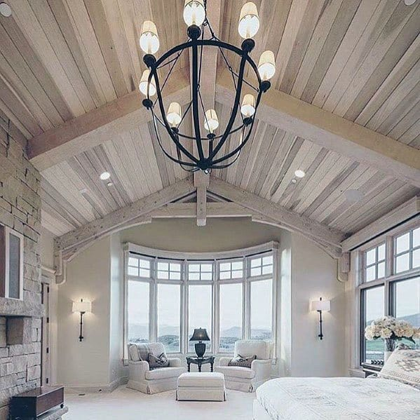 Interior Ideas For Wood Bedroom Vaulted Ceilings