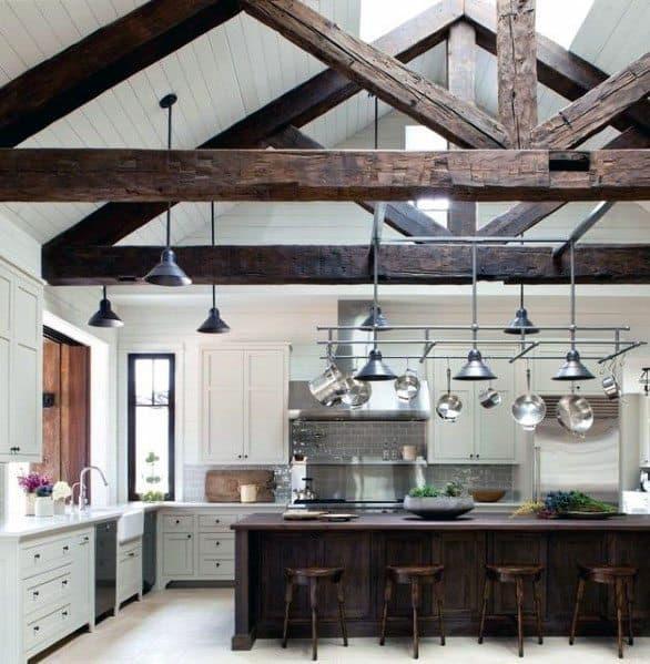Interior Ideas Kitchen Wood Beam Rustic Design Vaulted Ceiling