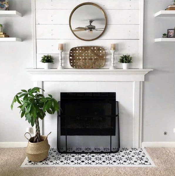 Interior Ideas Painted Fireplace With Blue Pattern Floor