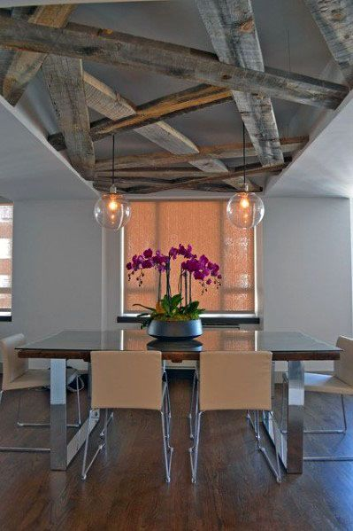 Interior Ideas Rustic Ceiling Dining Room