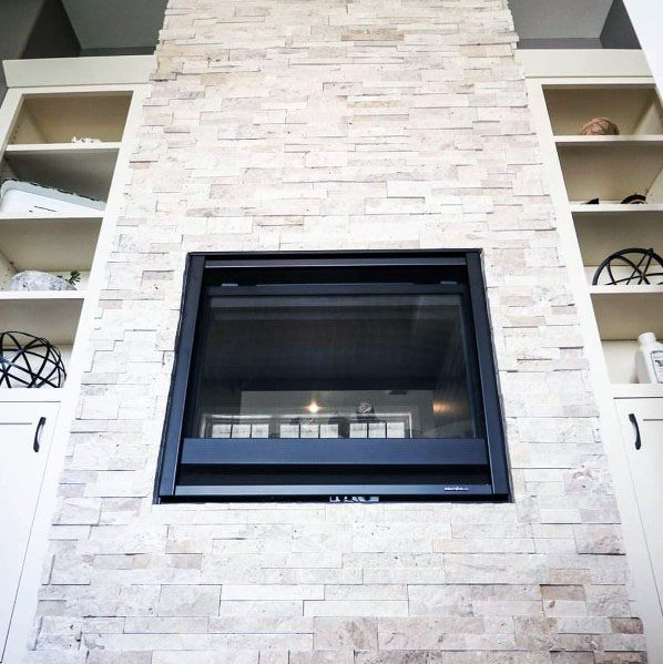 Interior Ideas Stacked Stone Gas Fireplace