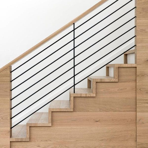 Interior Ideas Stair Railing Wood And Metal Horizontal Bars
