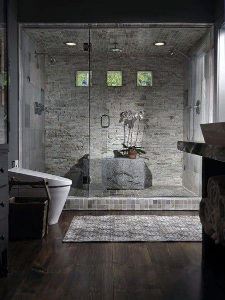 Interior Ideas Three Small Square Shower Windows On Upper Wall