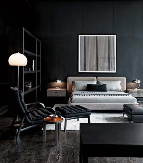 60 men 39 s bedroom ideas masculine interior design inspiration for Dark grey interior