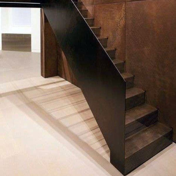 Interior Staircase Railing Design Solid Metal Panel