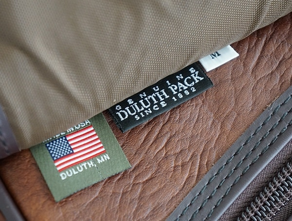 Interior Tag Mens Duluth Pack Bison Leather Sportsman Duffel