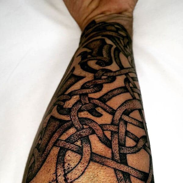 Interwoven Knots Mens Celtic Forearm Sleeve Tattoos