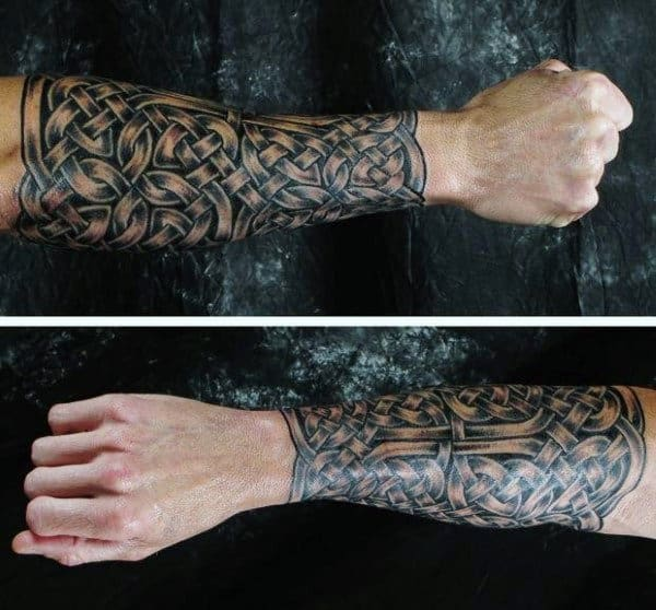 Interwoven Mens Celtic Knot Forearm Sleeve Tattoo