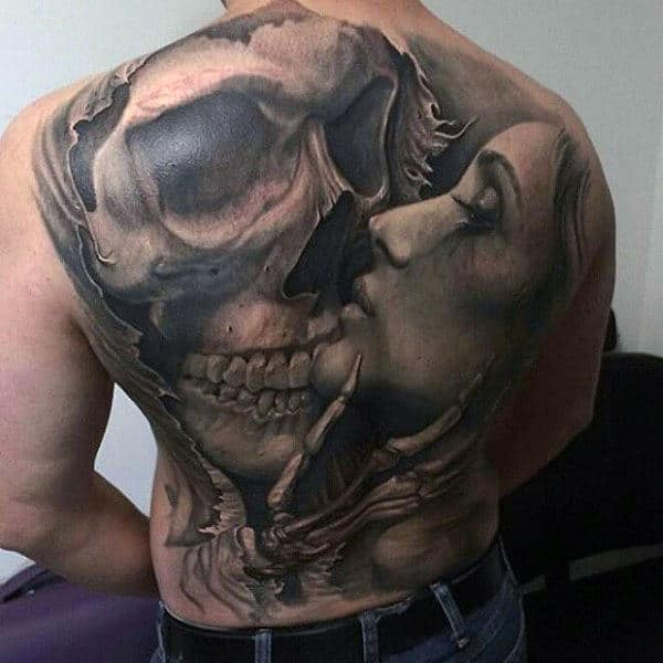 Intimate Encounter Skull And Pretty Woman Tattoo Mens Full Back