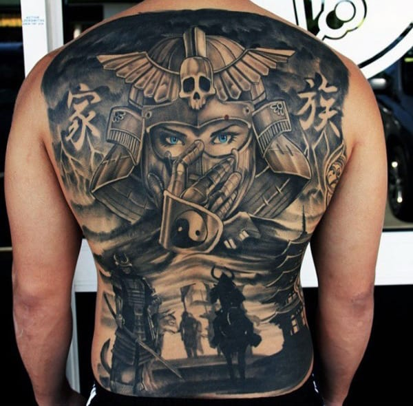 Into The Future Warriors With Tiny Yin Yang Tattoo Male Full Back