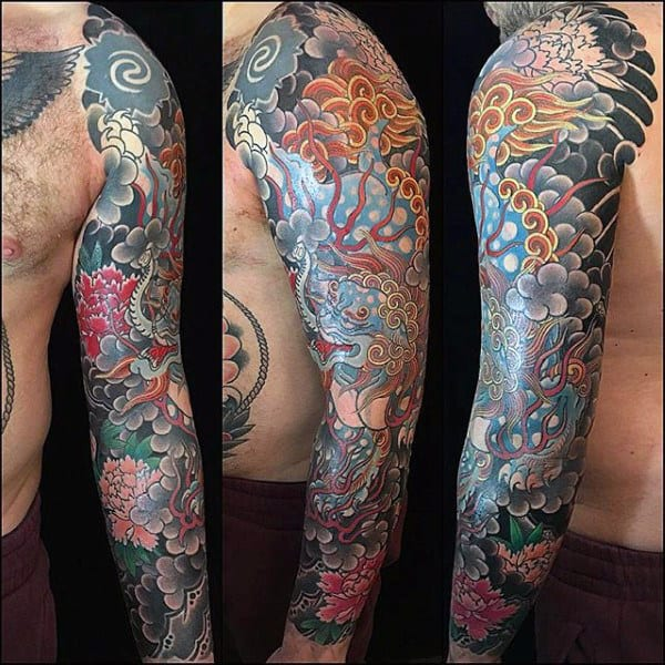 Intricate Japanese Sleeve Tattoo Male
