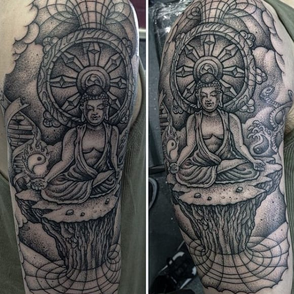 Intricate Black Buddha Pencil Art Tattoo For Men On Back