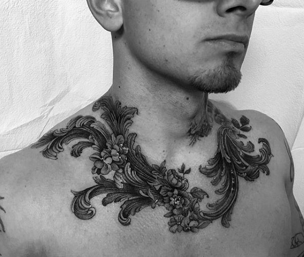 Intricate Collar Bone Male Tattoo Designs