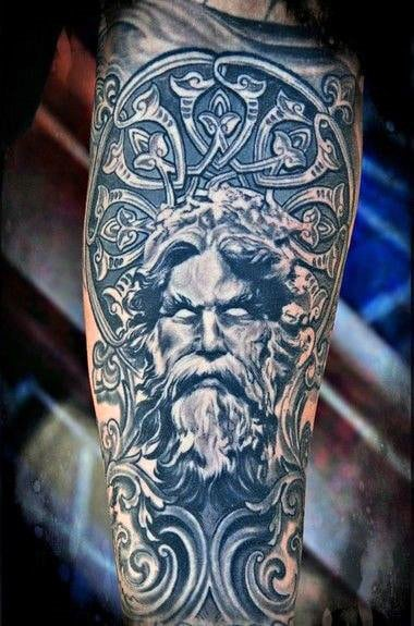 Intricate Greek God Pattern On Arms For Men