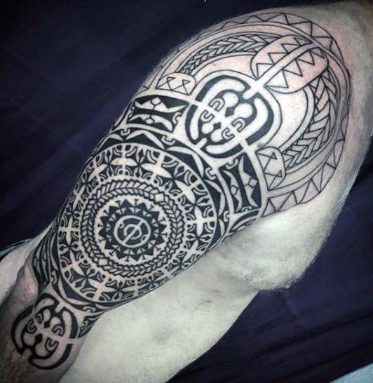 Intricate Mens Black Ink Tribal Half Sleeve Tattoos