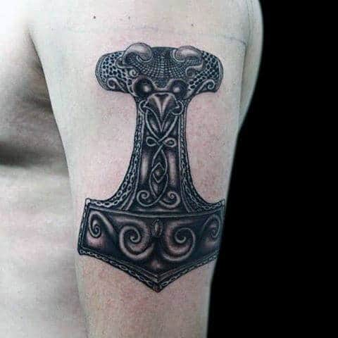 Intricate Mjolnir Male Upper Arm Tattoos