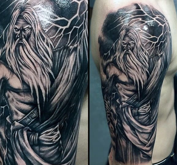 Intricate Myth Tattoos On Arms For Men