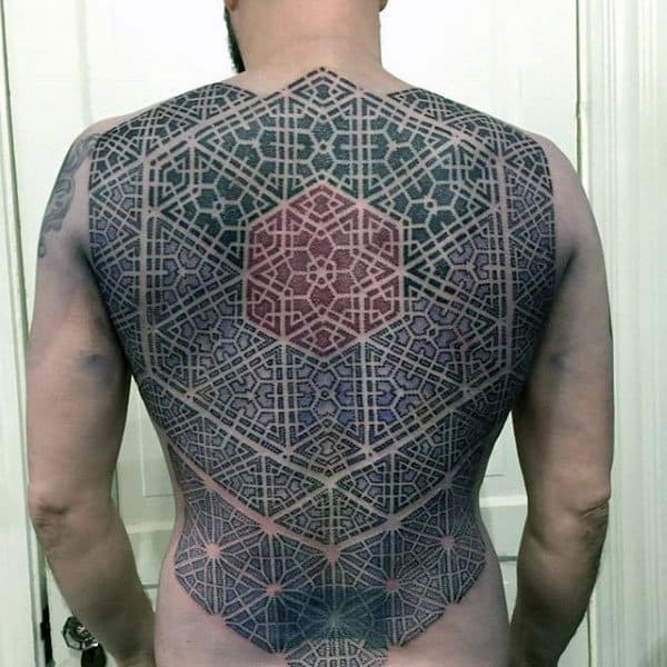 Intricate Pattern Tattoo Male Back