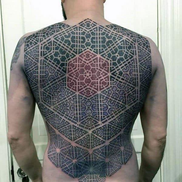 Intricate Pattern Tattoo Male Back