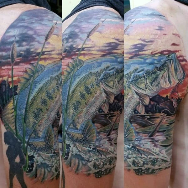 Intricate Sunset Bass Fishing Mens Half Sleeve