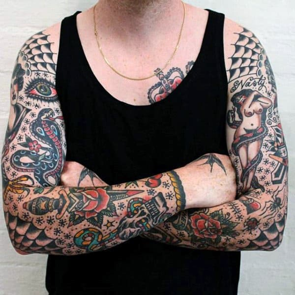 Intricate Traditional American Tattoo Guys Full Sleeves