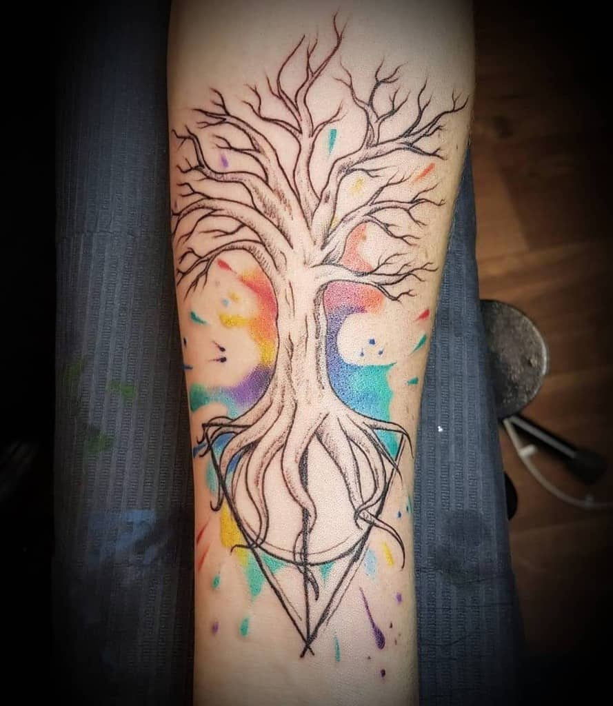 intricate watercolor harry potter deathly hallows tattoo