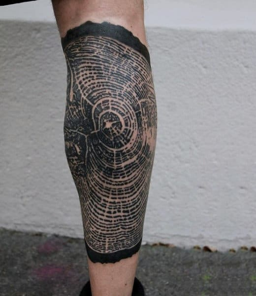 Intricately Designed Oak Tree Ring Pattern On Elbows For Guys