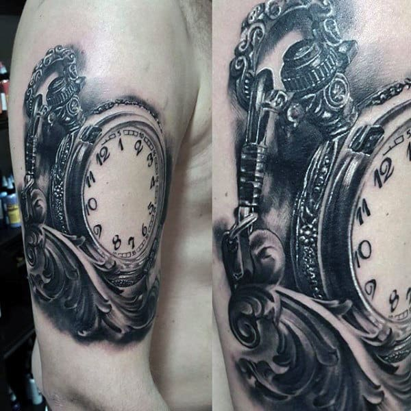 Intricately Designed Pocket Watch Tattoo On Upper Arms For Men