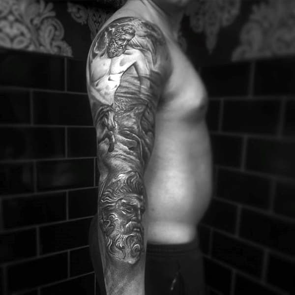 Intrinsic Dark Full Sleeve Greek God Tattoo For Men